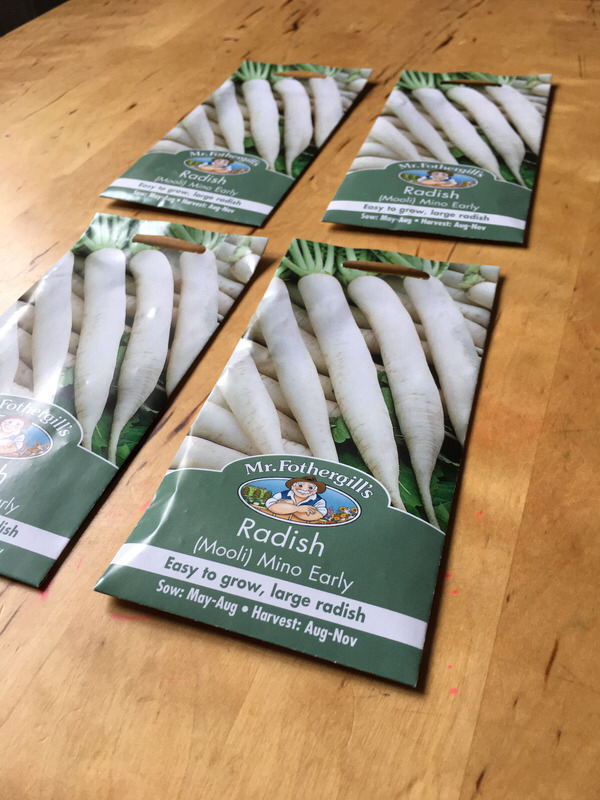 Four packets of radish seeds